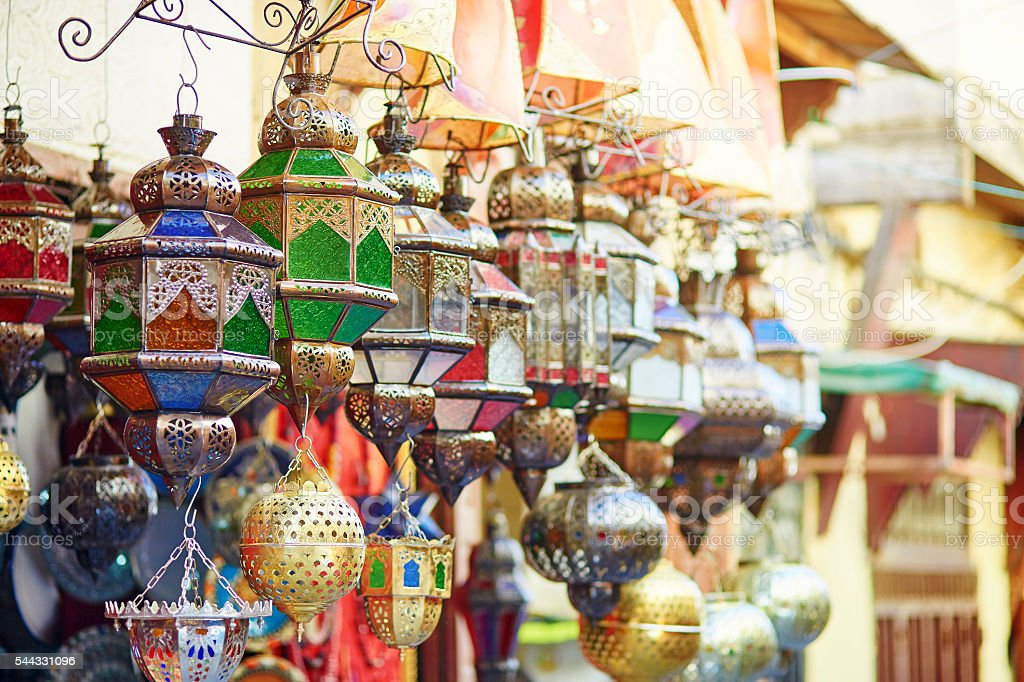 Selection of traditional lamps on Moroccan market stock photo