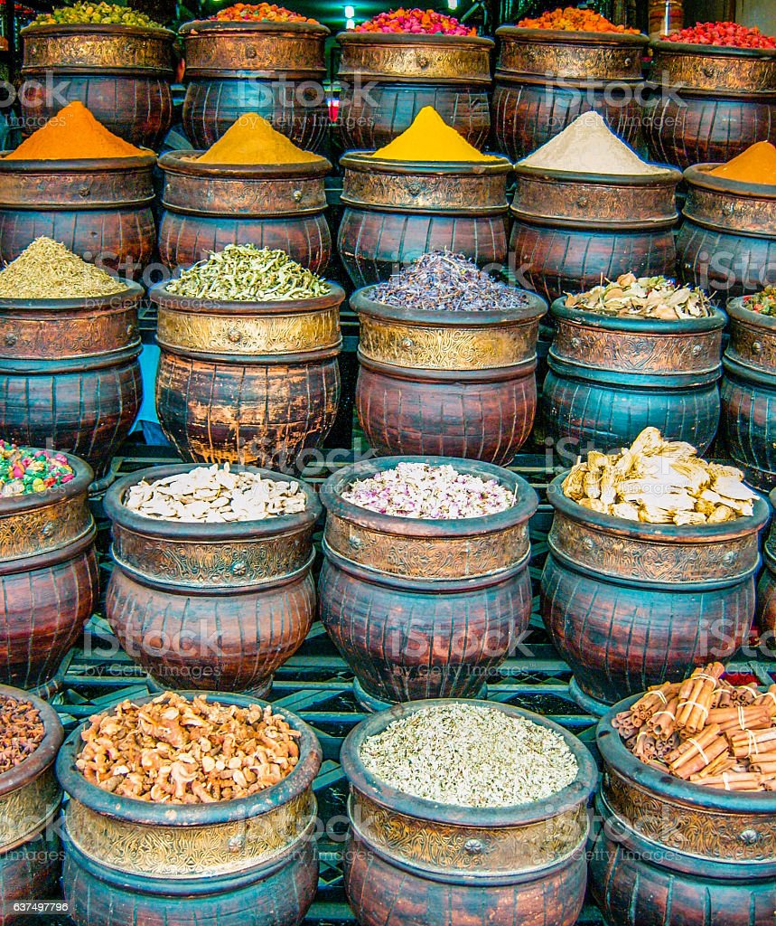 Selection of traditional Spices at a Marakesh market stock photo