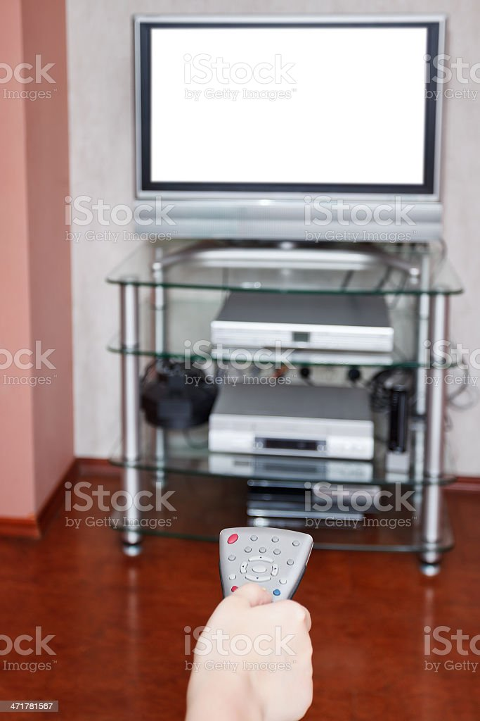selection of TV channels by remote control royalty-free stock photo
