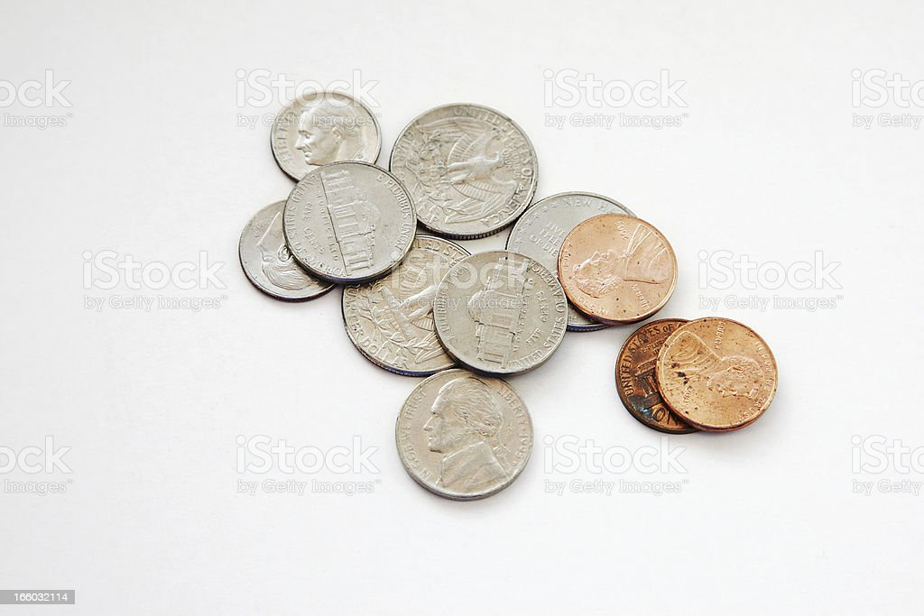 Selection of US coins stock photo