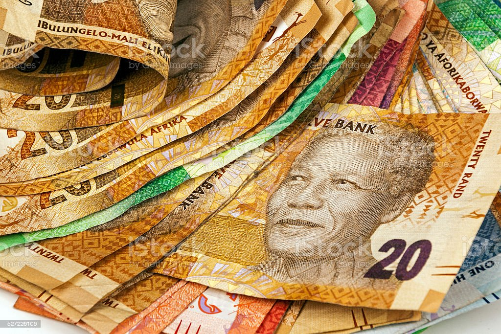 Selection of Used South African Bank Notes stock photo