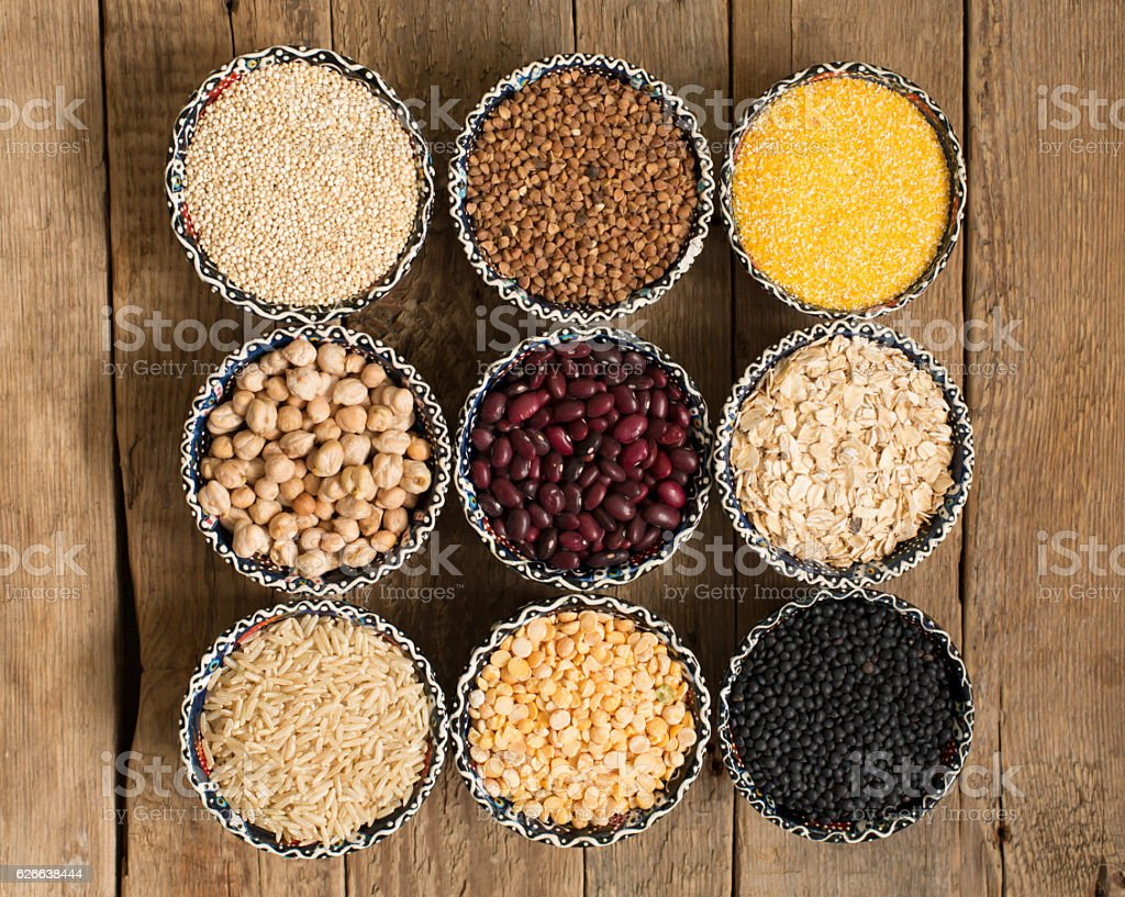 Selection of various colorful cereal stock photo