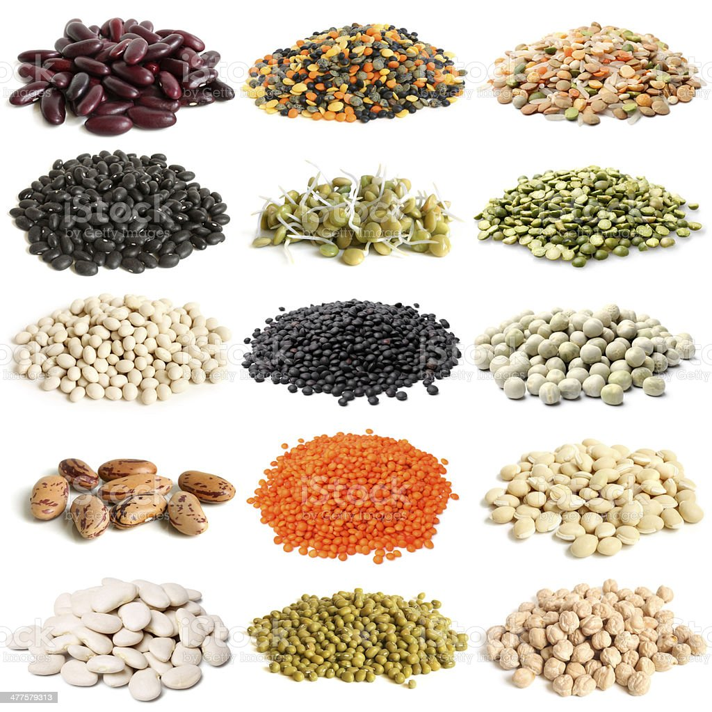 Selection of various legumes stock photo
