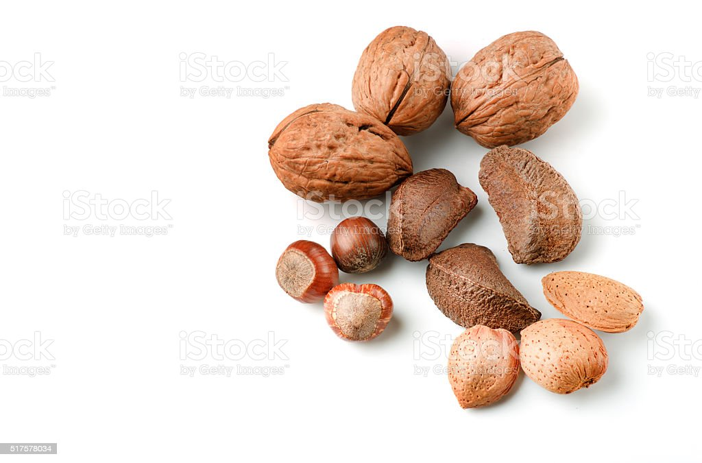 Selection of various nuts stock photo