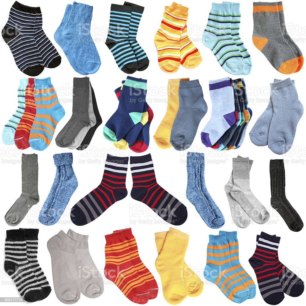 Selection of various socks stock photo