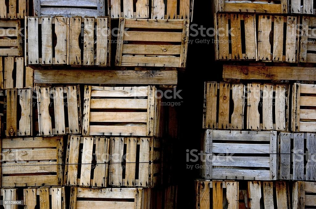 Selection of vintage wooden crates royalty-free stock photo