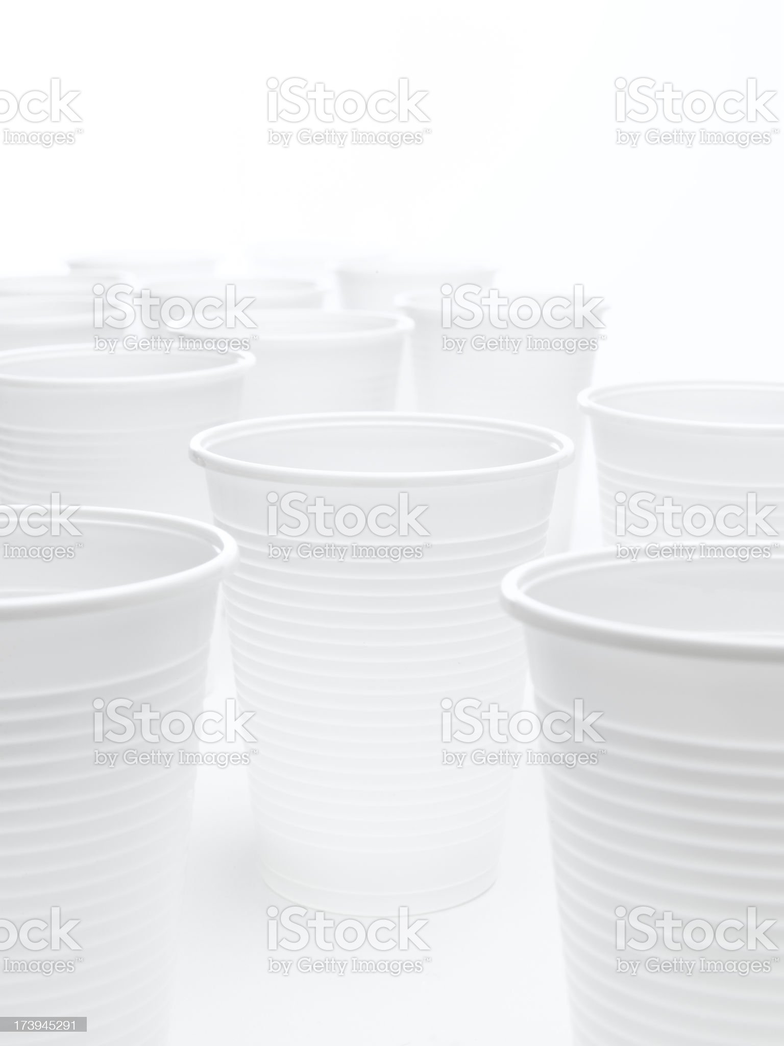 selection of white plastic cups royalty-free stock photo