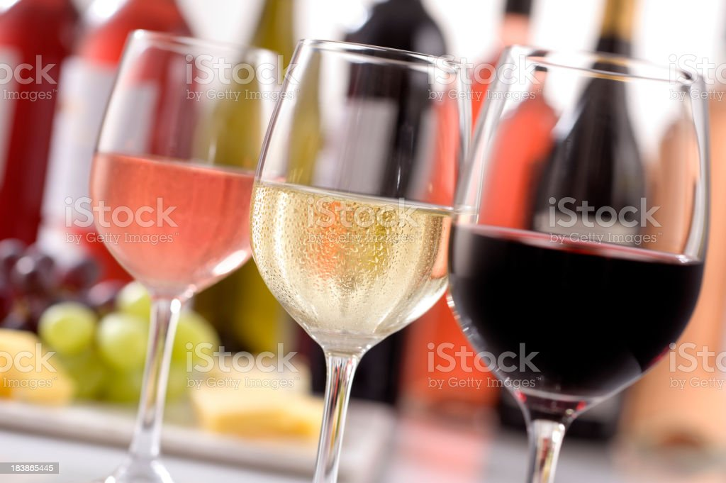 Selection of wines in glasses for wine tasting royalty-free stock photo