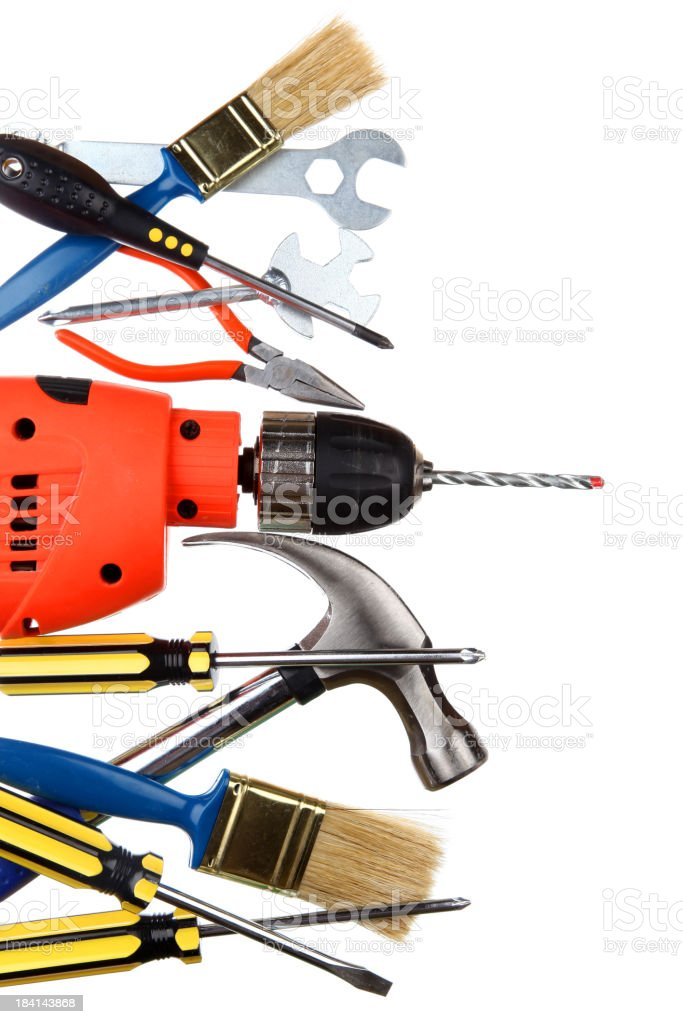 Selection of work tools stock photo