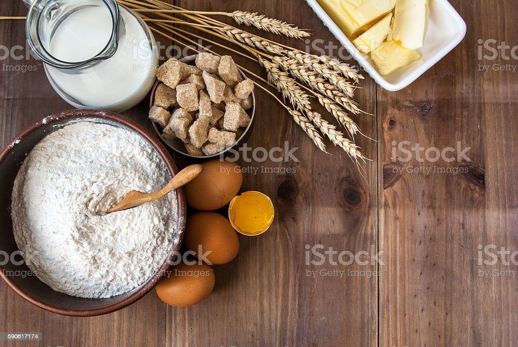 Selection products for dough stock photo