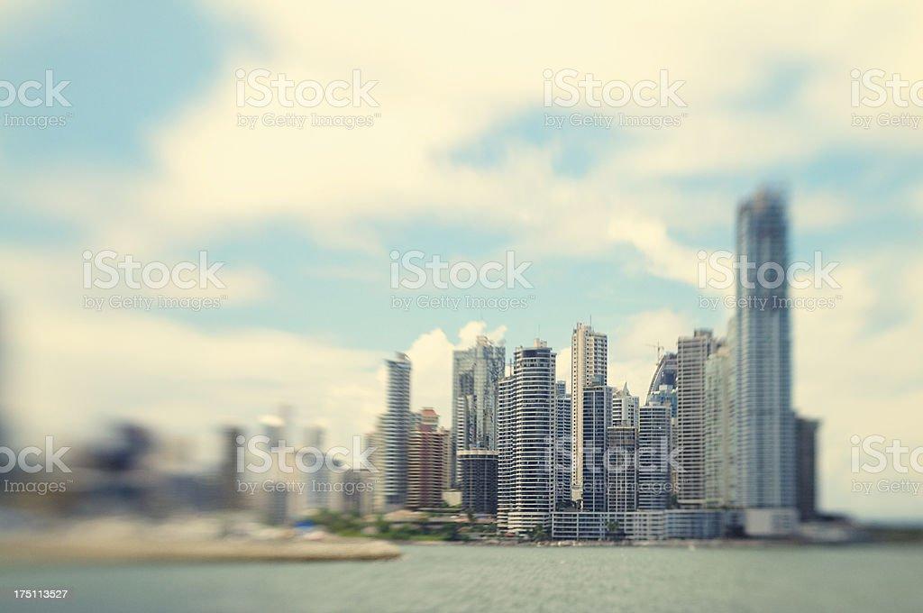 Selective Focus Cityscape Skyline by the Sea Panama City royalty-free stock photo