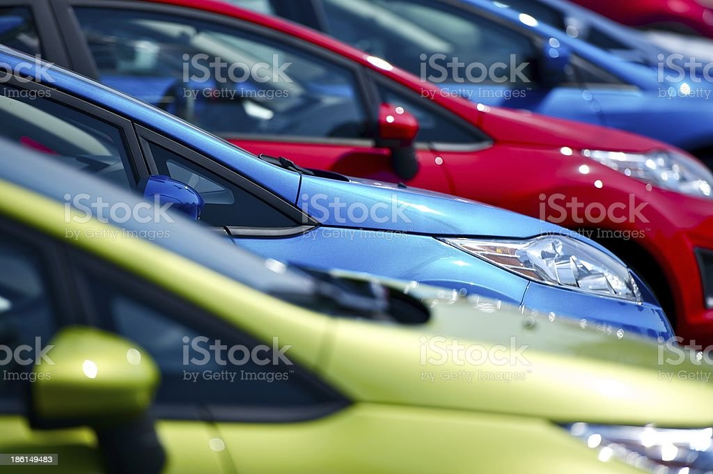 Selective focus of cars at European dealership stock photo