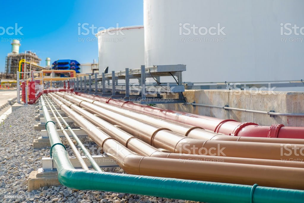 Selective focus of fuel oil piping stock photo