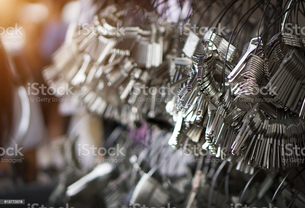 selective focus of Many Keychain bunches stock photo