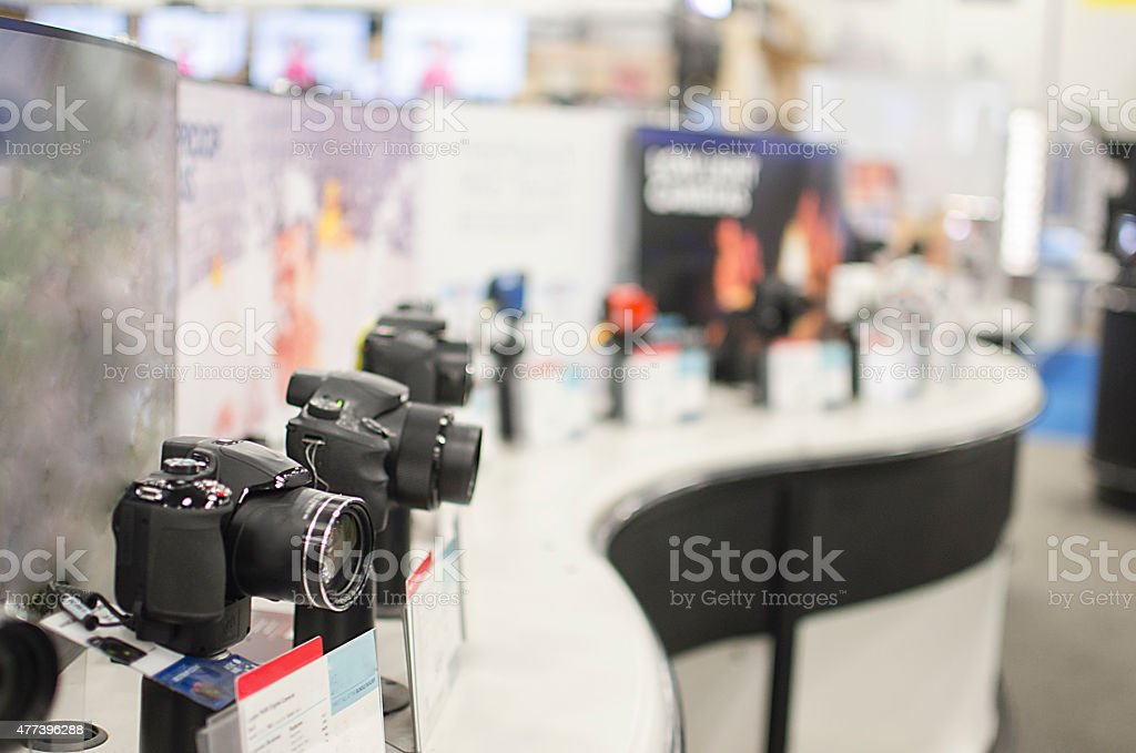 Selective Focus on DSLR Cameras on Display in Store stock photo