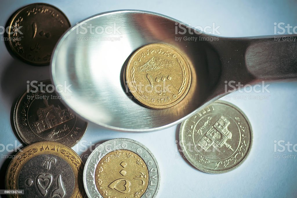 Selective focus on iranian currency - one thousand Iranian rials stock photo