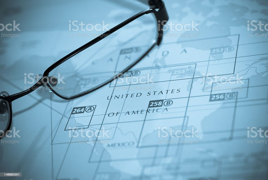 Selective focus on map of north america royalty-free stock photo