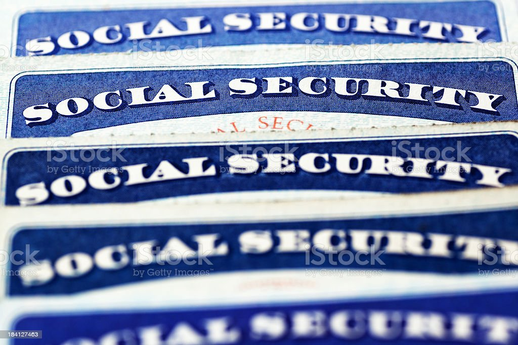 Selective focus on row of social security cards stock photo