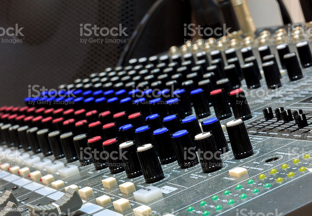 selective focus part of sound mixer  background. stock photo