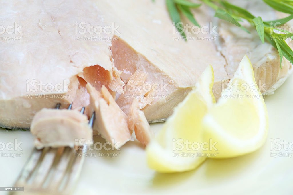 Selective Focus Serving of Fresh Poached Salmon Filet royalty-free stock photo