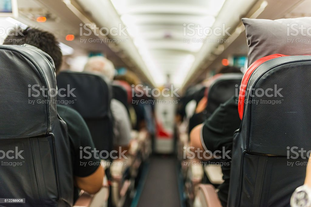 Selective focus shot in an airplane stock photo