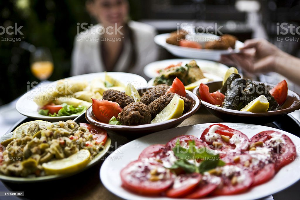 Selective focus shot of a fine dining spread royalty-free stock photo