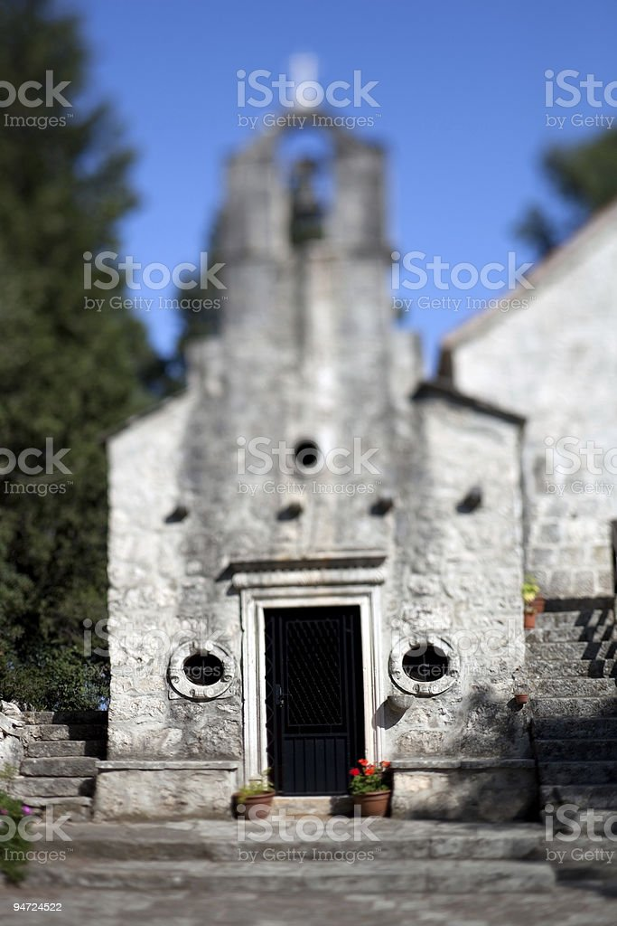 Selective focus shot of an old church stock photo