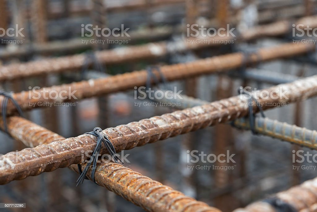 Selective focus steel tied at construction site stock photo