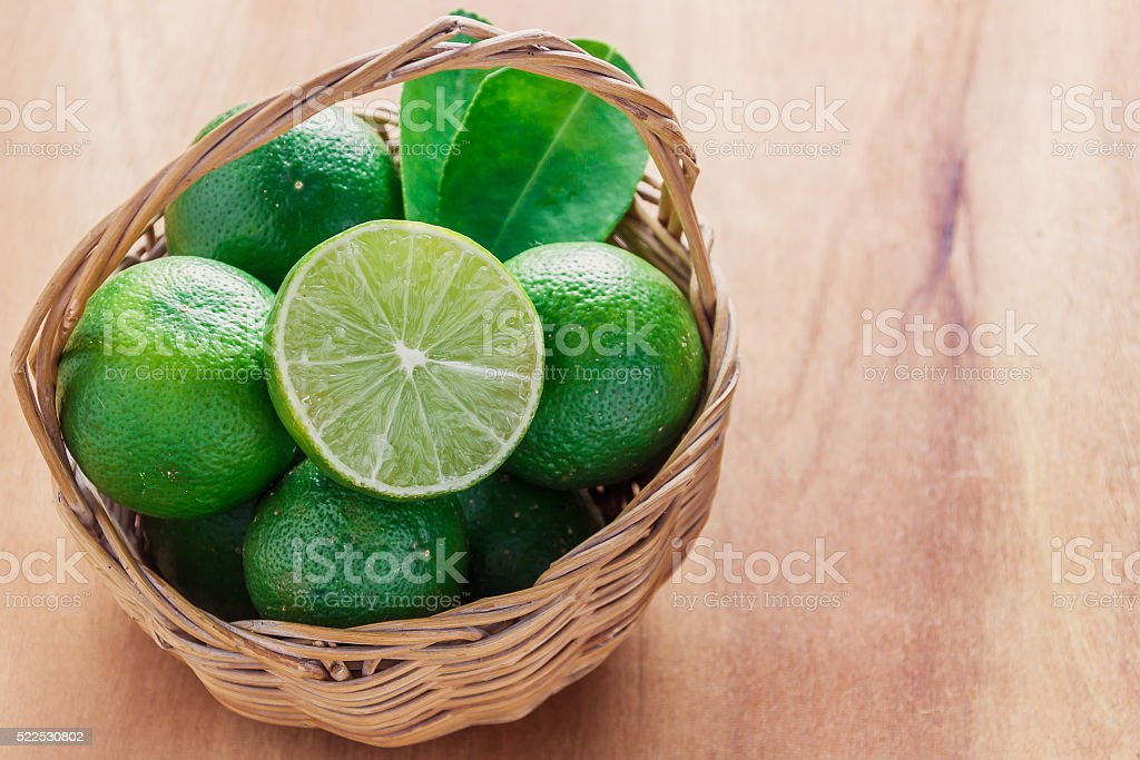 selective focus to slice fresh lime,green leaf lime. stock photo
