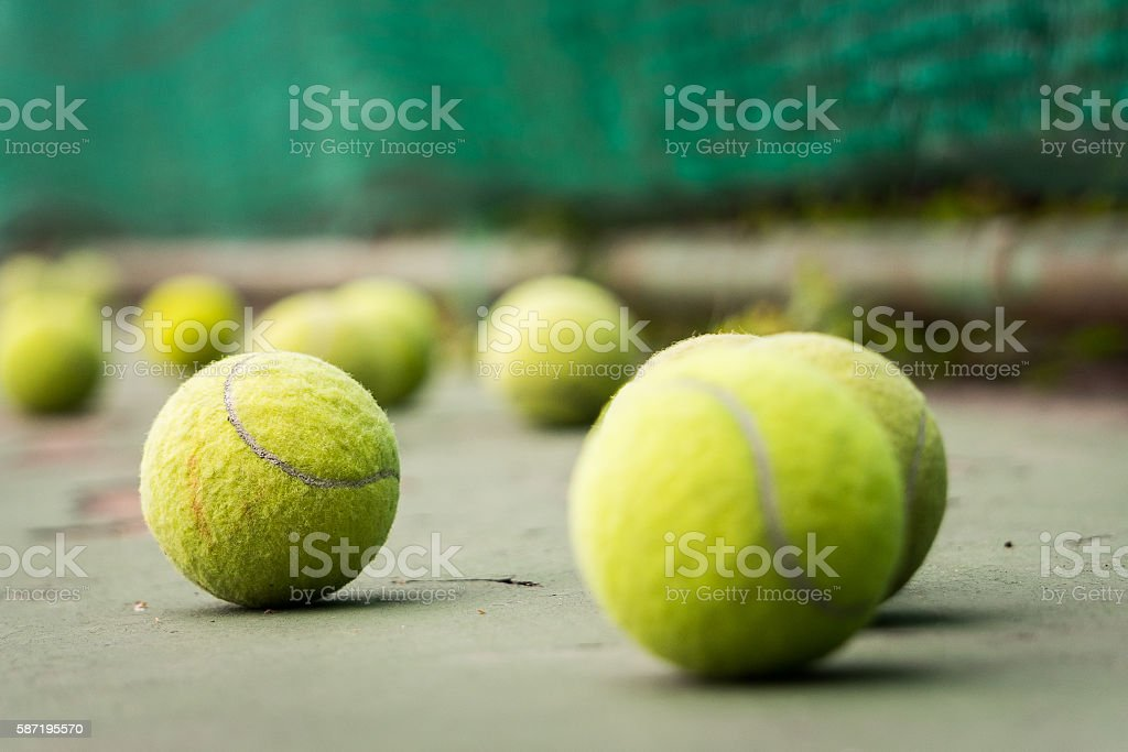 selectived focus tennis ball on tennis court stock photo
