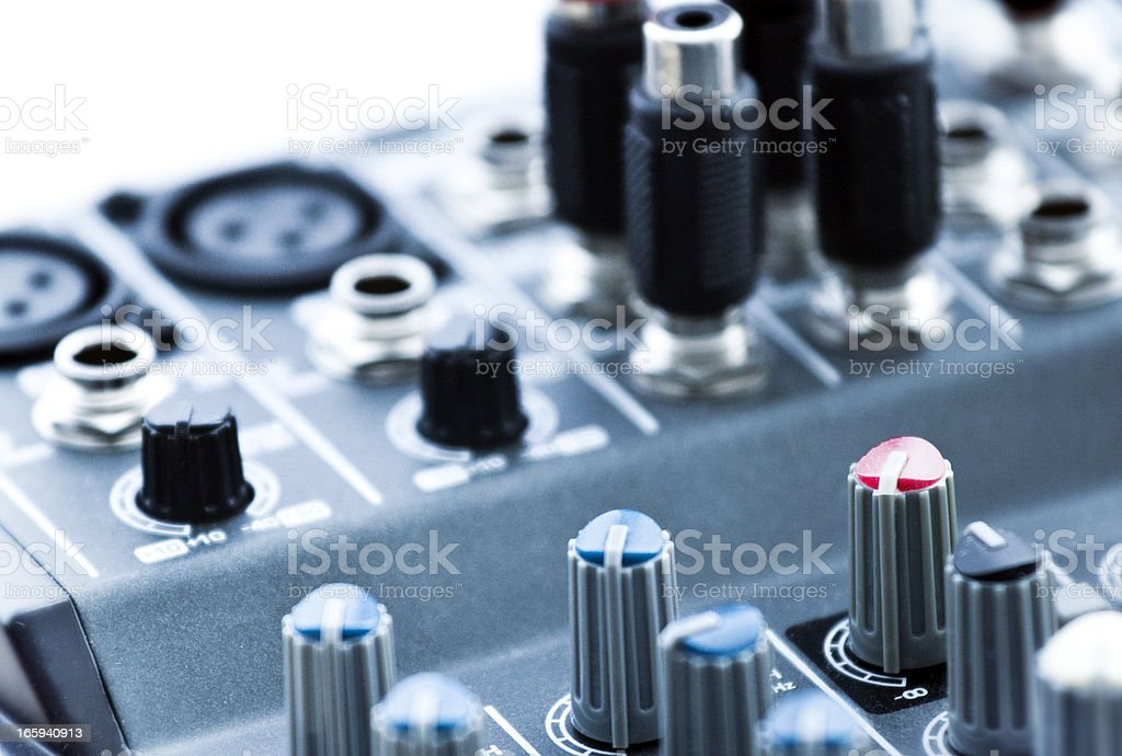 selectively focused photograph of an audio mixer stock photo