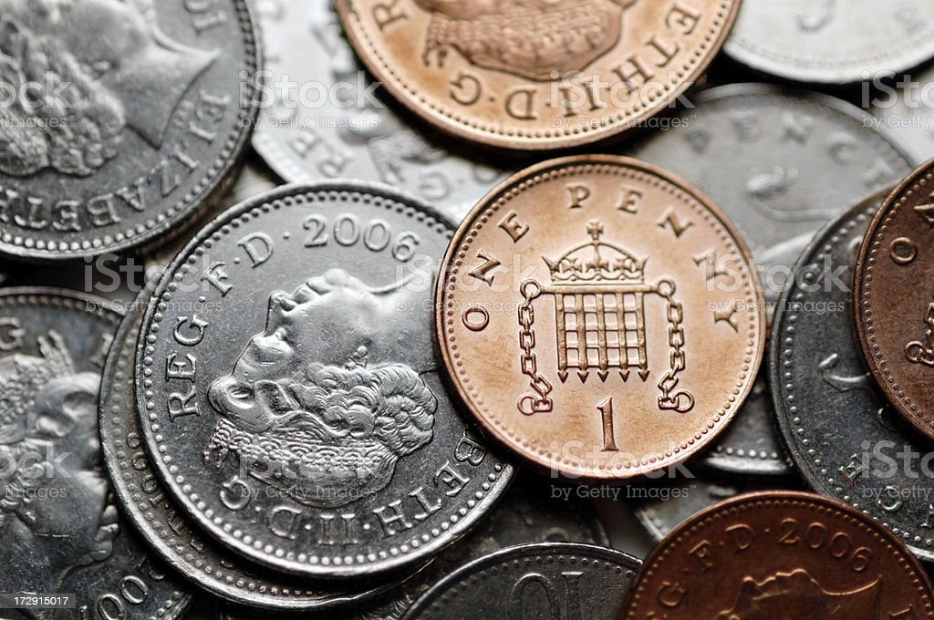 selectively focused photograph of British coins royalty-free stock photo