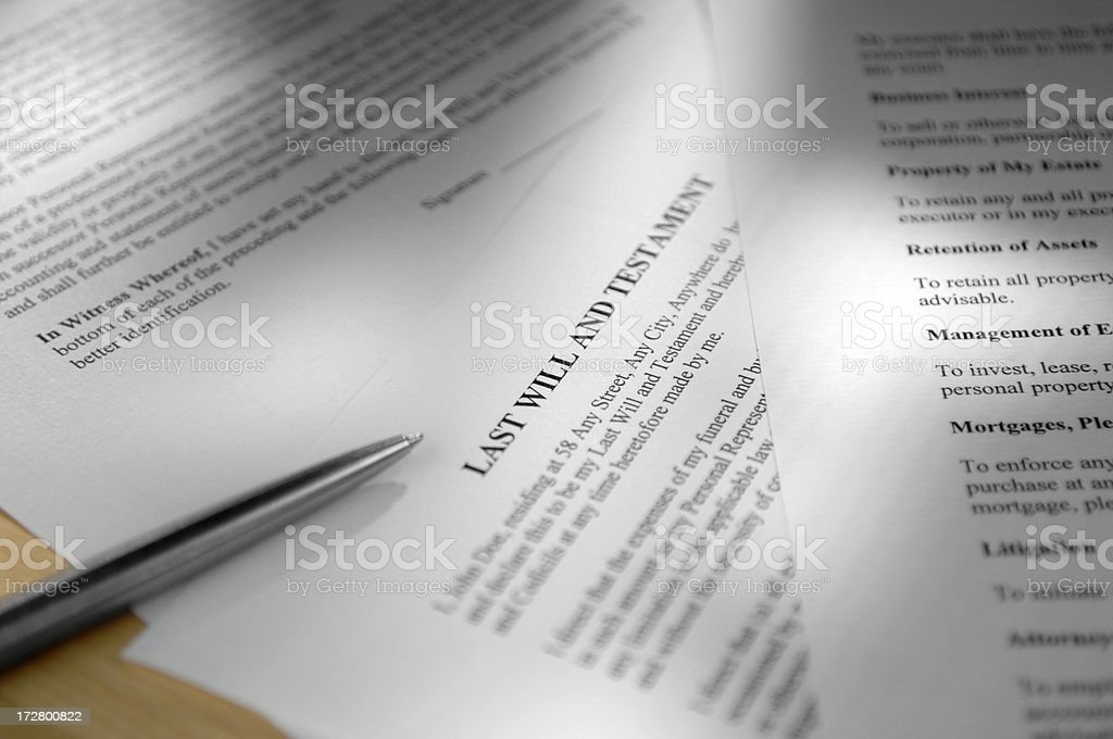 selectively focused shot a last will and testament royalty-free stock photo