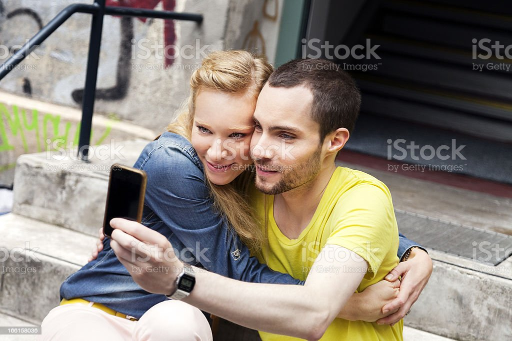 Self Cellular Photography Urabn Young Couple royalty-free stock photo