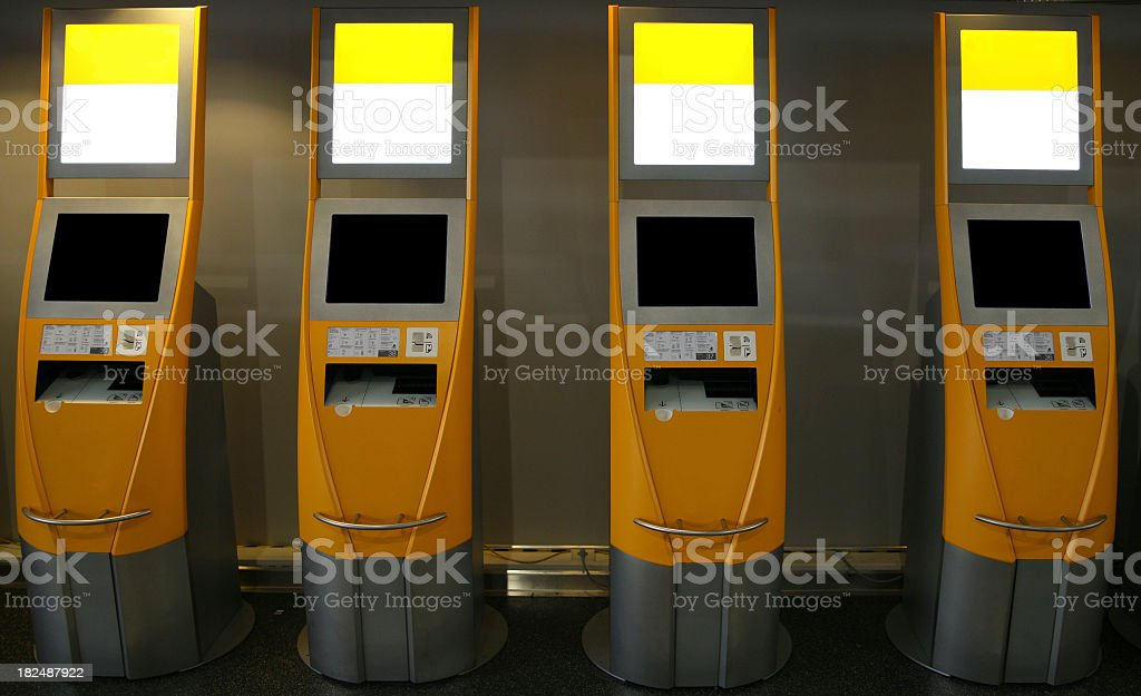Self check in counters stock photo