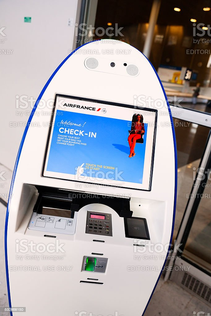Self Check-in at the airport stock photo