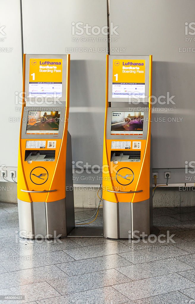 self check-in machines at Frankfurt International Airport stock photo
