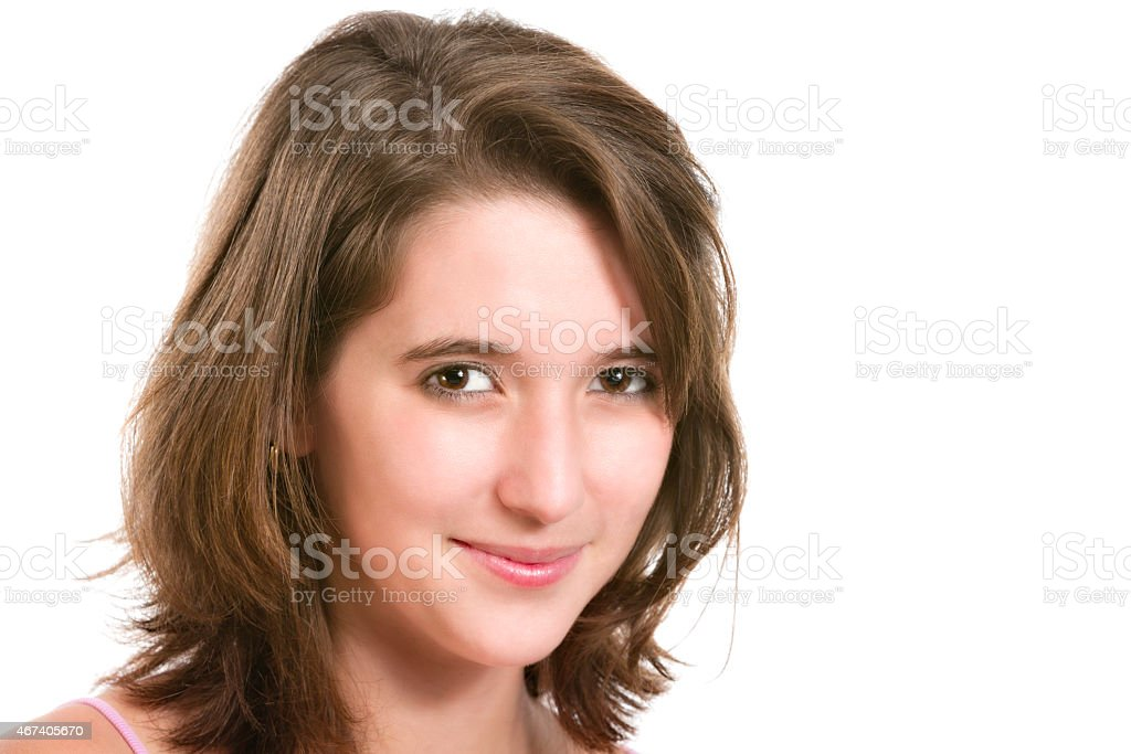 Self confident Hispanic young woman close up stock photo