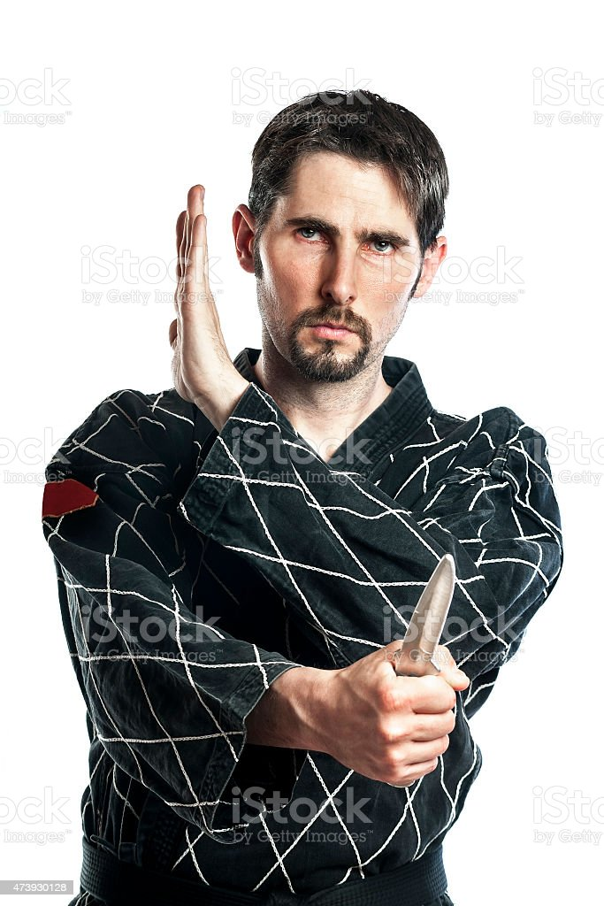 Self defense exercise with knife stock photo