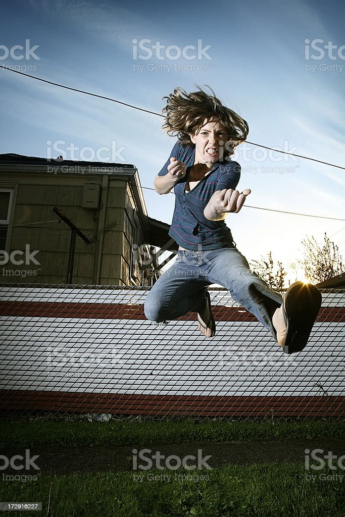 Self Defense Girl royalty-free stock photo