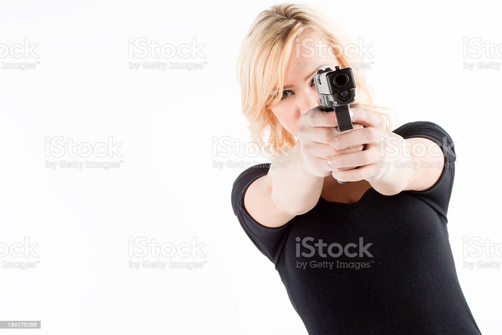Self Defense with a gun royalty-free stock photo