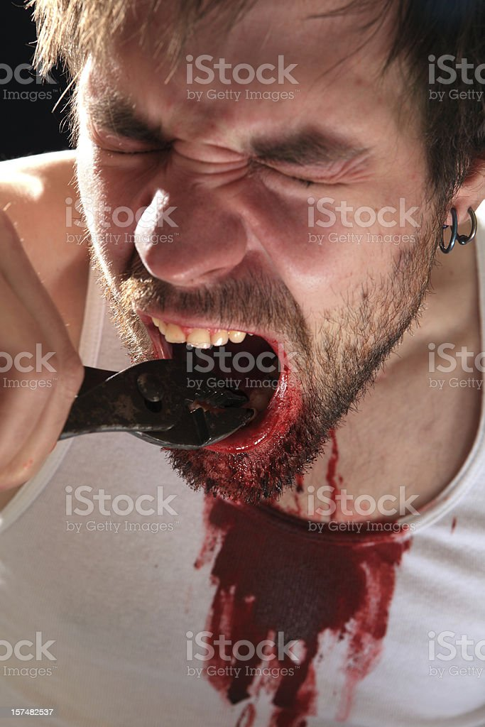 Self Dentistry royalty-free stock photo