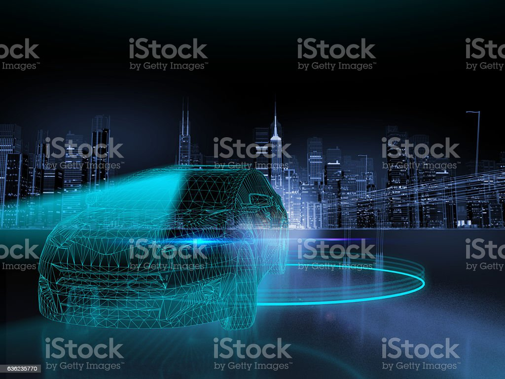 Self drive car stock photo
