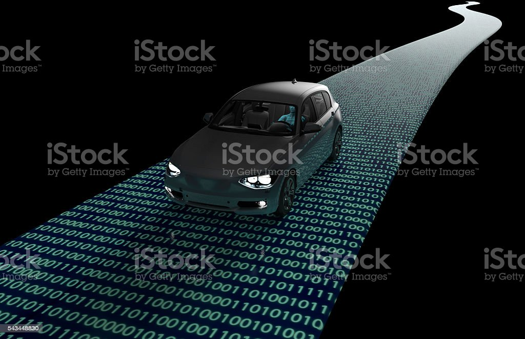 self driveing electronic computer car on road stock photo