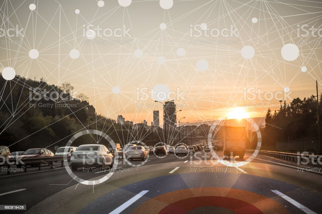 Self driving autonomous intelligent cars stock photo