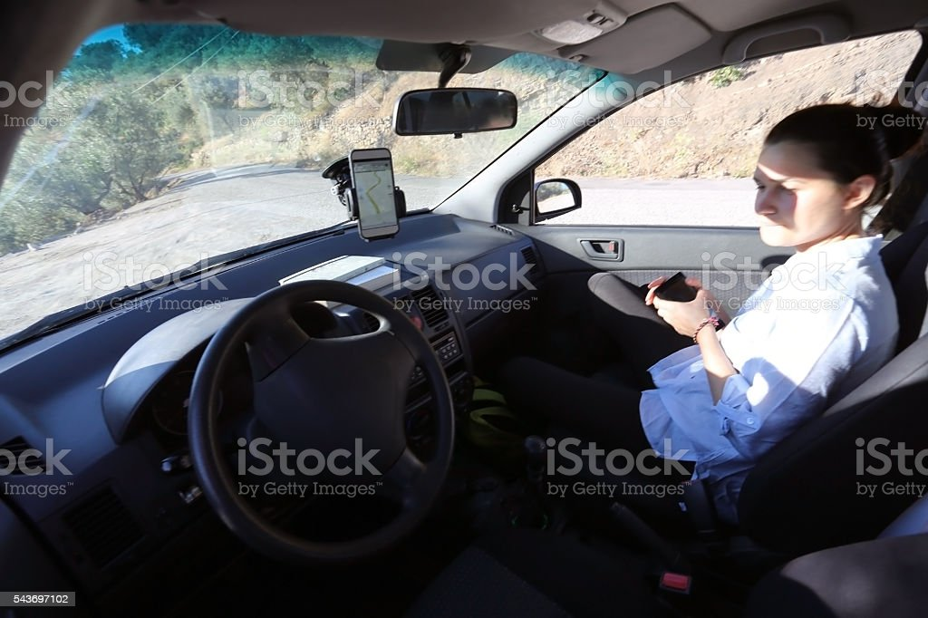 Self driving car interior on the road stock photo