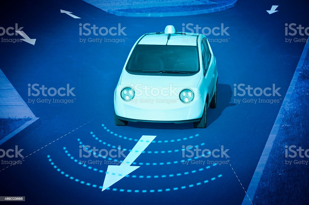 Self driving vehicle stock photo