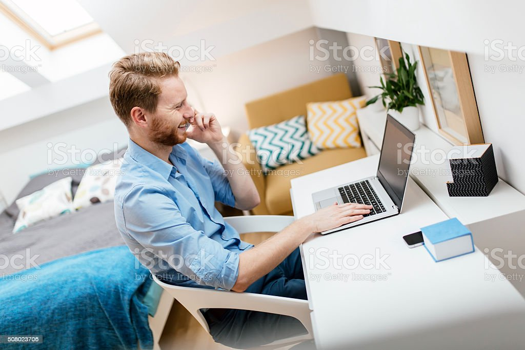 Self employed businessman working from home stock photo