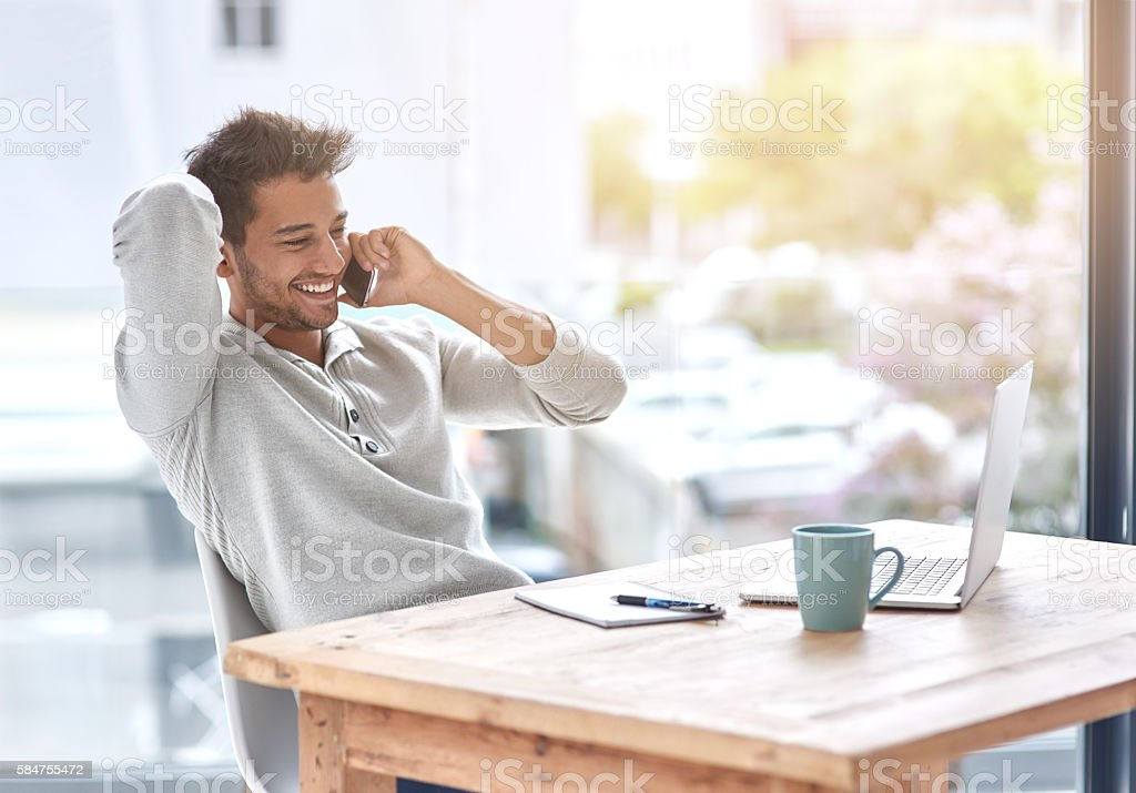 Self employment has its perks stock photo