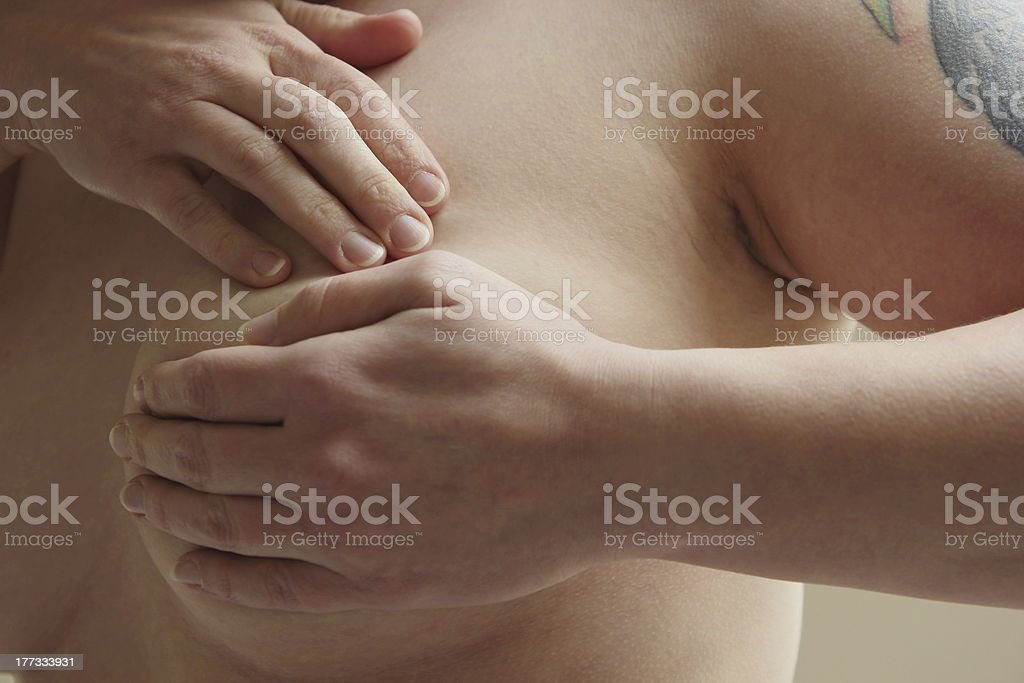 Self exam against breast cancer stock photo